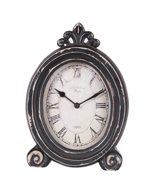 Distressed Table Clock with Feet