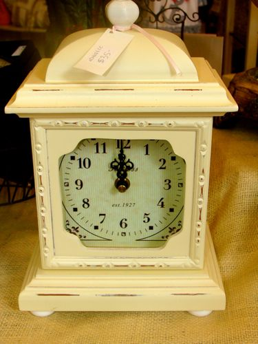 Cream Distressed Mantle Clock