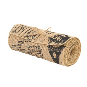 French Script Burlap Ribbon Large