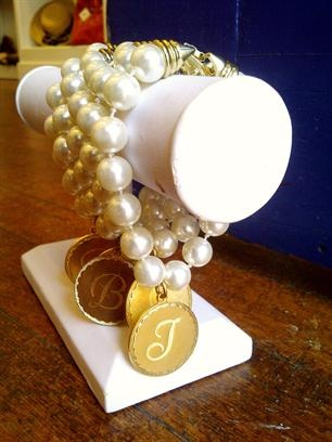 Cream Pearl Initial Charm Bracelet