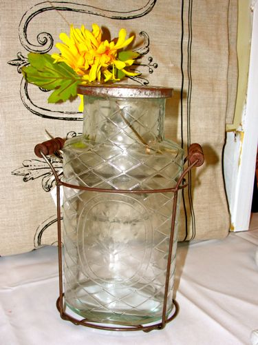 "Large ""Vintage"" Glass Flower Jar"