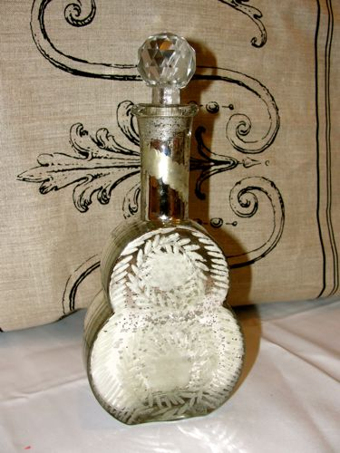 Mercury Glass Decanter with Glass Stopper- Violin Shape