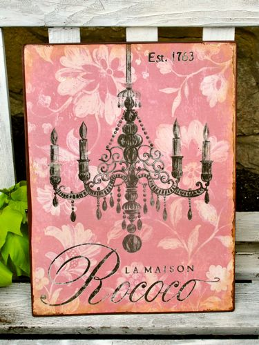 Distressed TIn Chandelier in Pink