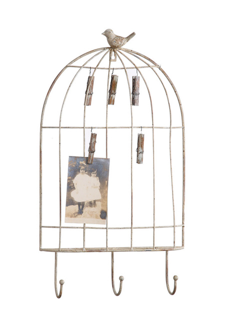 Metal Bird Cage Holder with Hooks