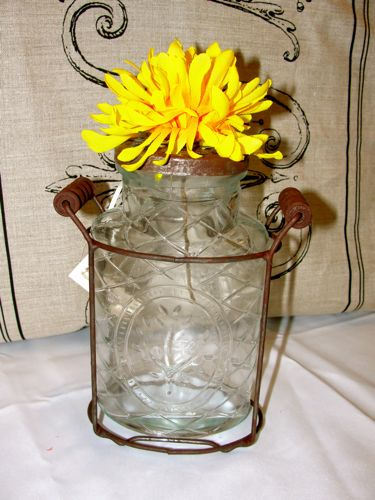 "Small ""VIntage"" Glass Flower Jar"
