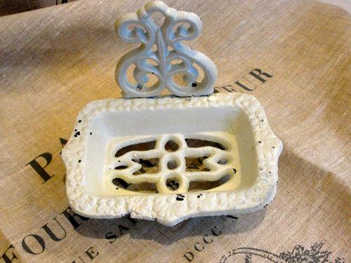 White cast iron soap dish